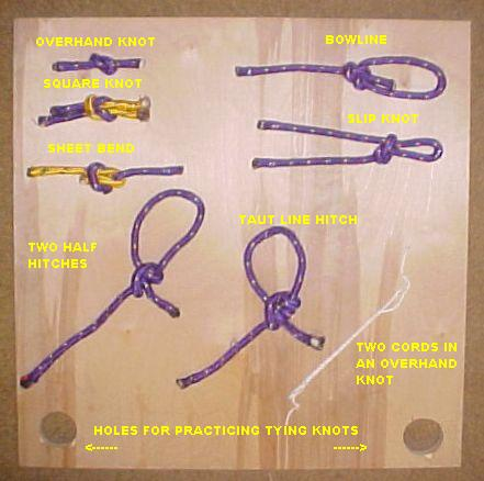 typical knot board one given to each pack taking class